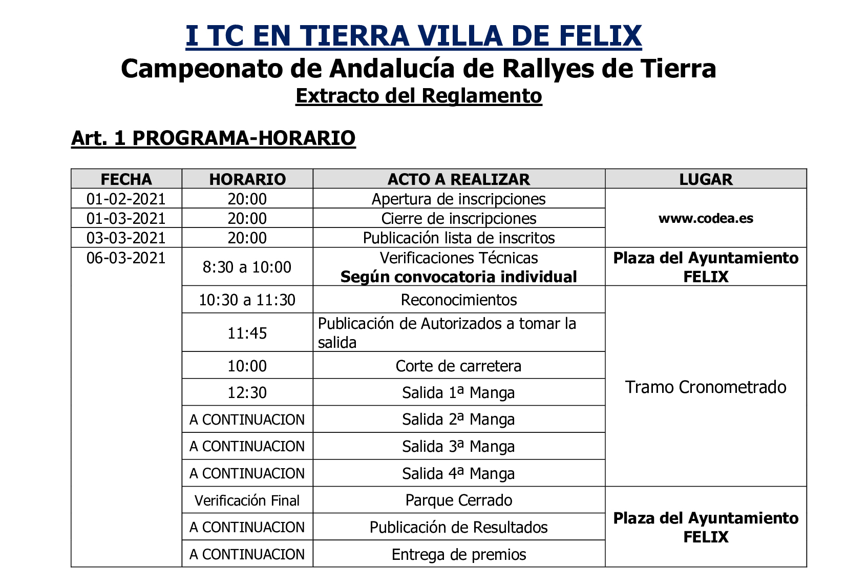 Horarios 1 TC Tierra Villa de Felix 2021