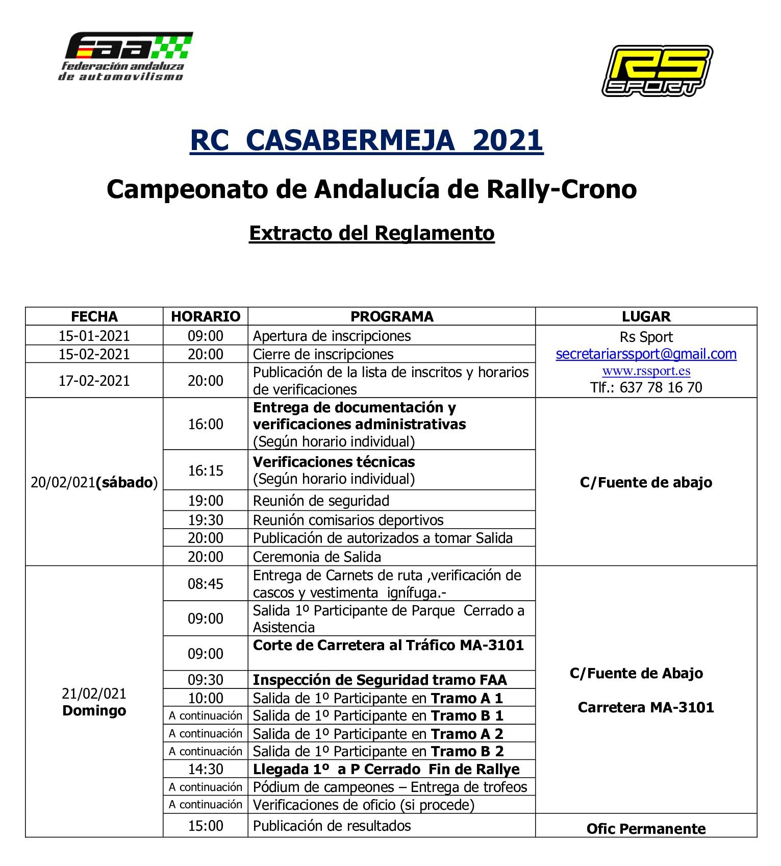 Programa Horario Rally Crono Casabermeja 2021