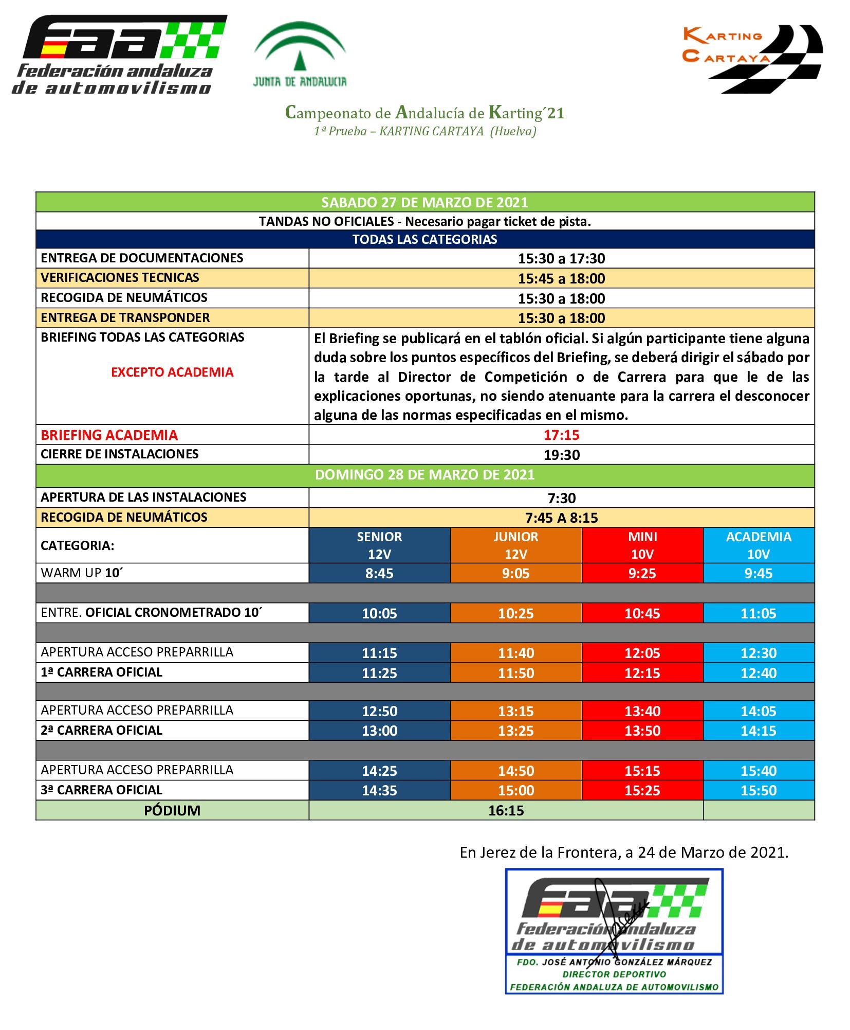 Horarios Campeonato Andalucía Karting - Cartaya