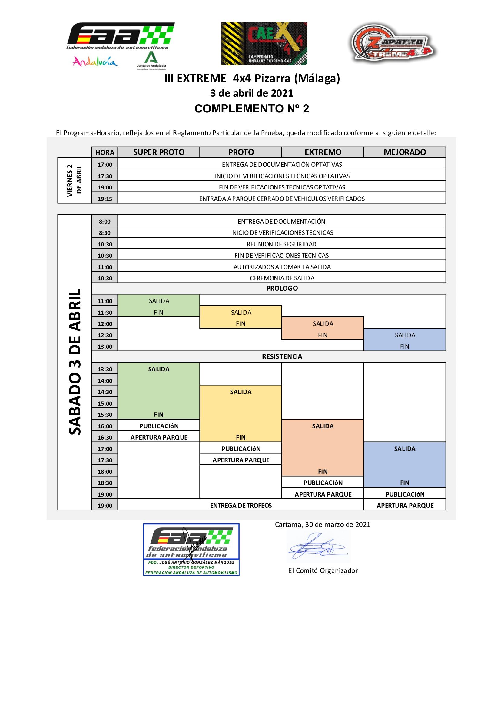 Horarios Campeonato Andalucía Extremo 4x4 - Pizarra