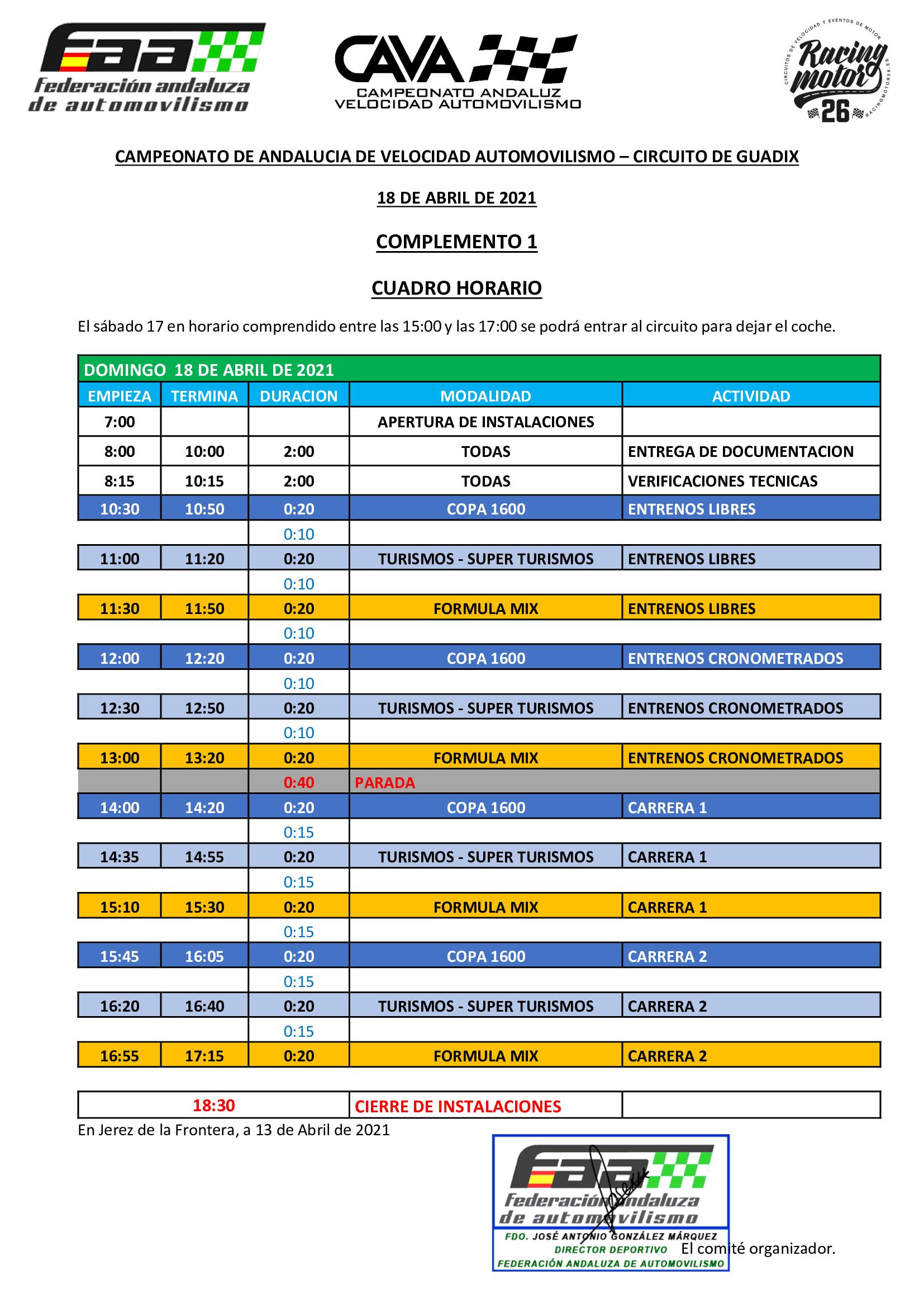Horarios Campeonato Andaluz Velocidad Automovilismo - Guadix