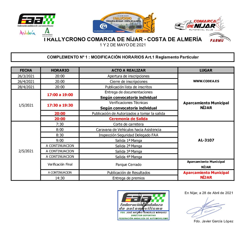 Horarios I Rally Crono Comarca de Níjar