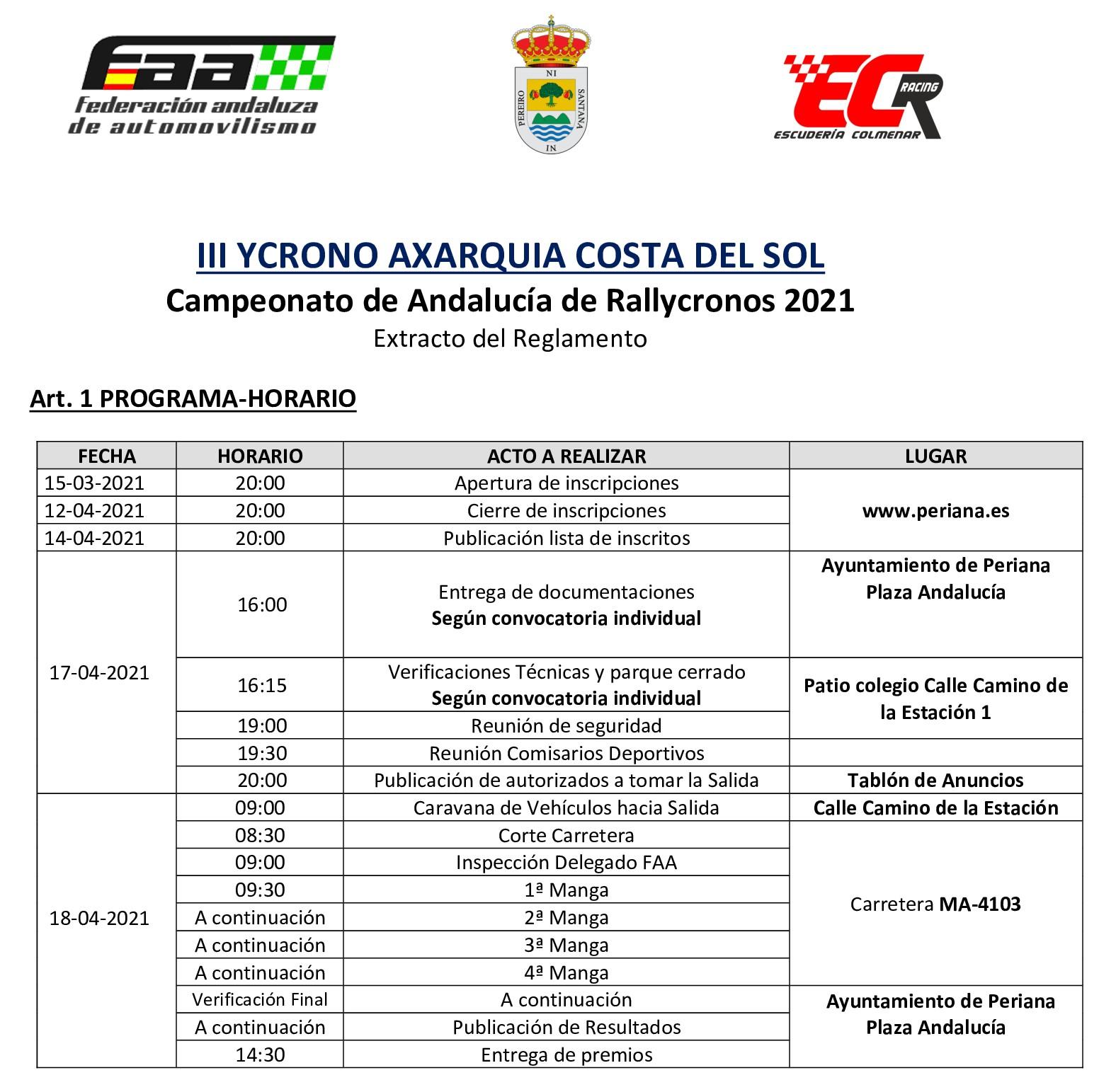 Horarios III Rally Crono Axarquía Costa del Sol Periana