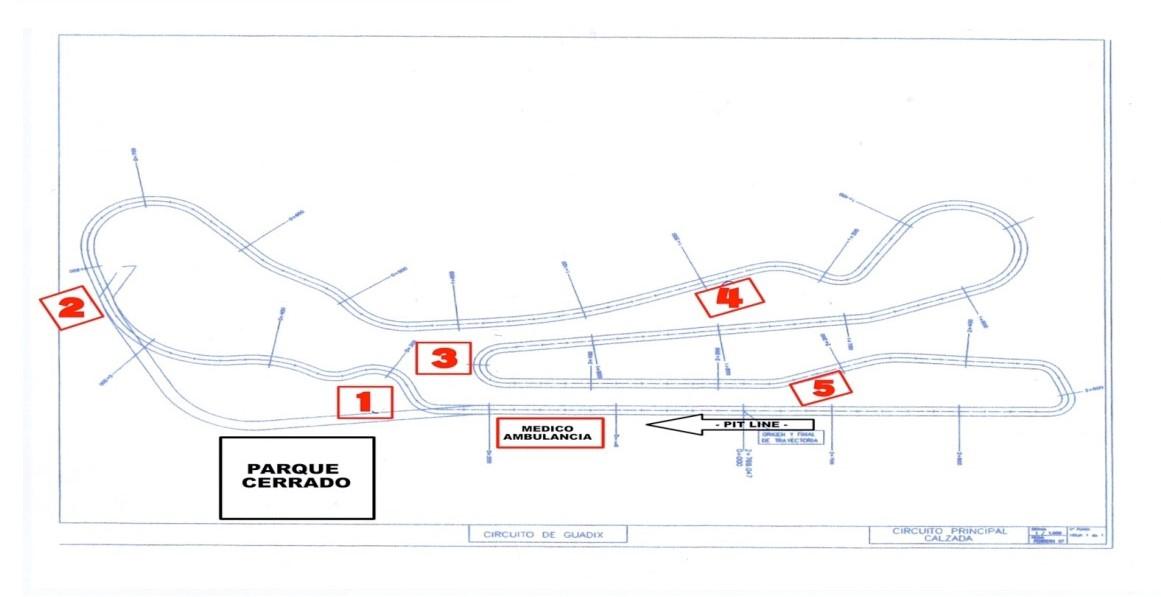 Plano Circuito Campeonato Andaluz Velocidad Automovilismo - Guadix