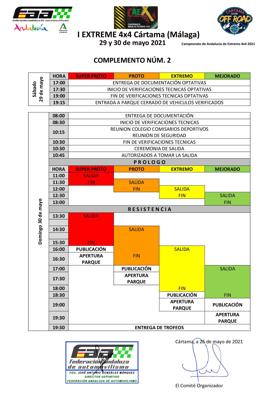 Horarios Campeonato Andalucía Extremo 4x4 - Cártama