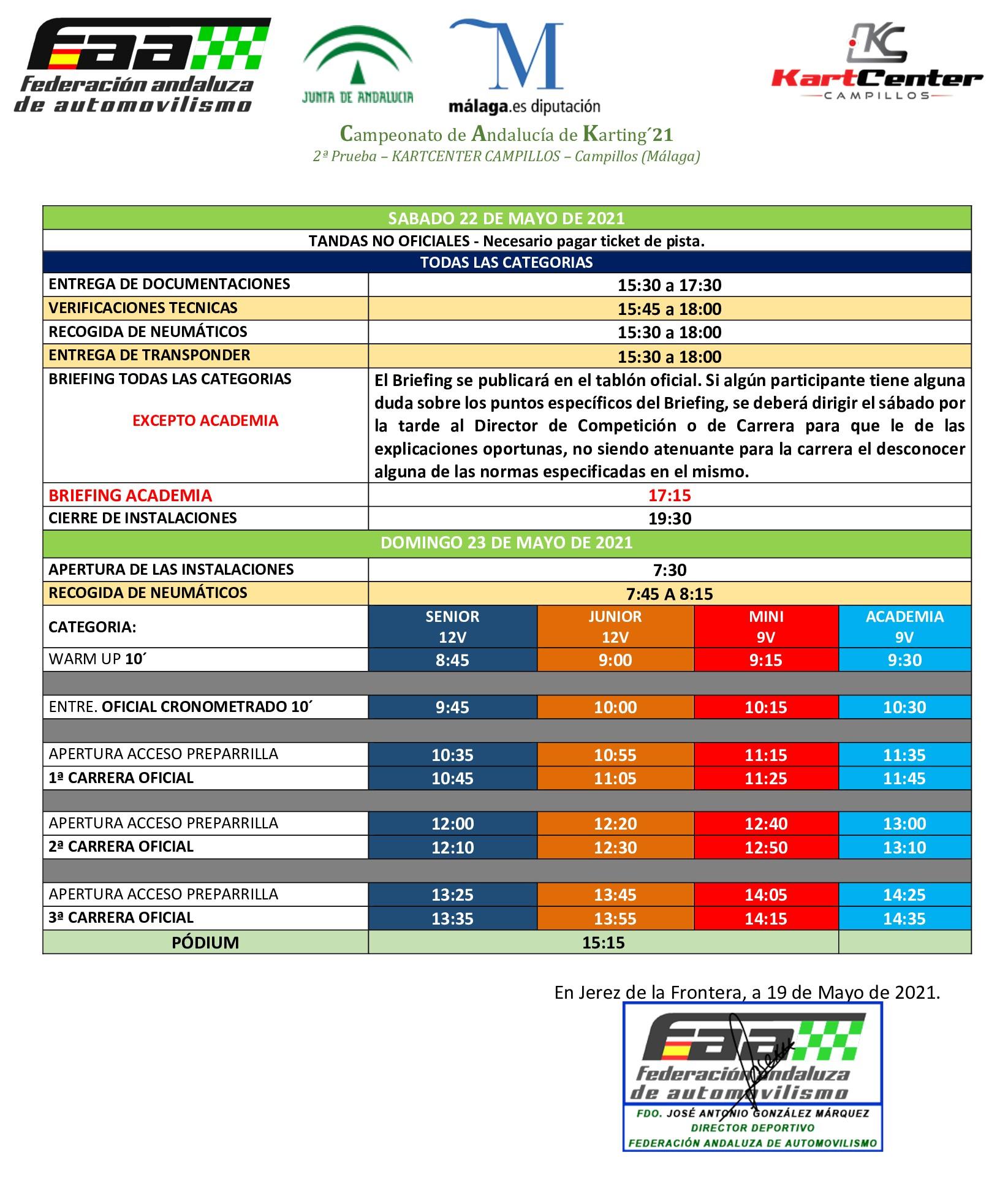 Horarios Campeonato Andalucía Karting - Campillos
