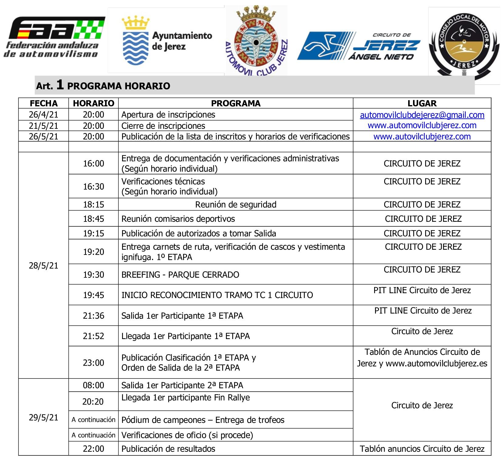 Horarios IX Rallye Ciudad de Jerez