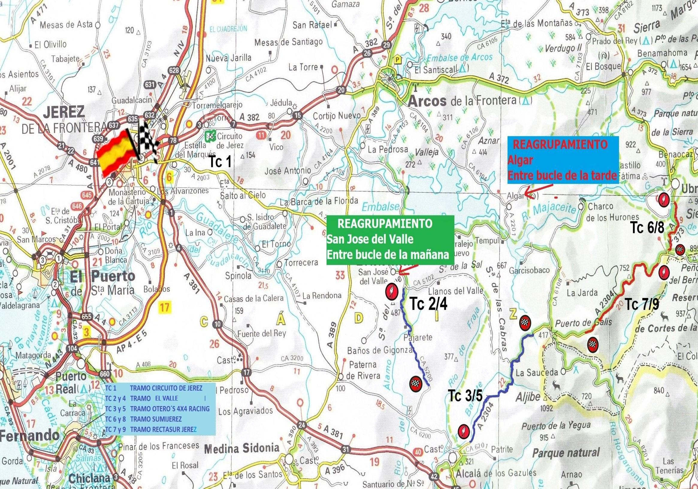 Mapa Recorrido IX Rallye Ciudad de Jerez