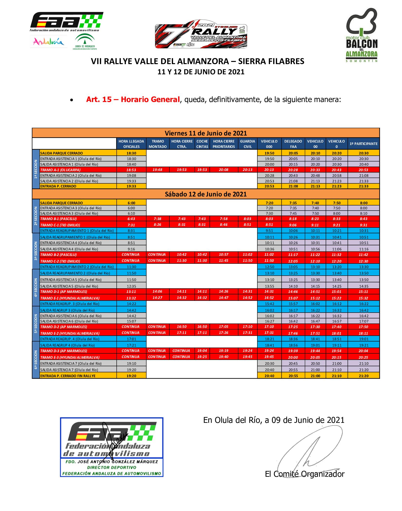 Cuadro horario VII Rallye Valle del Almanzora - Filabres