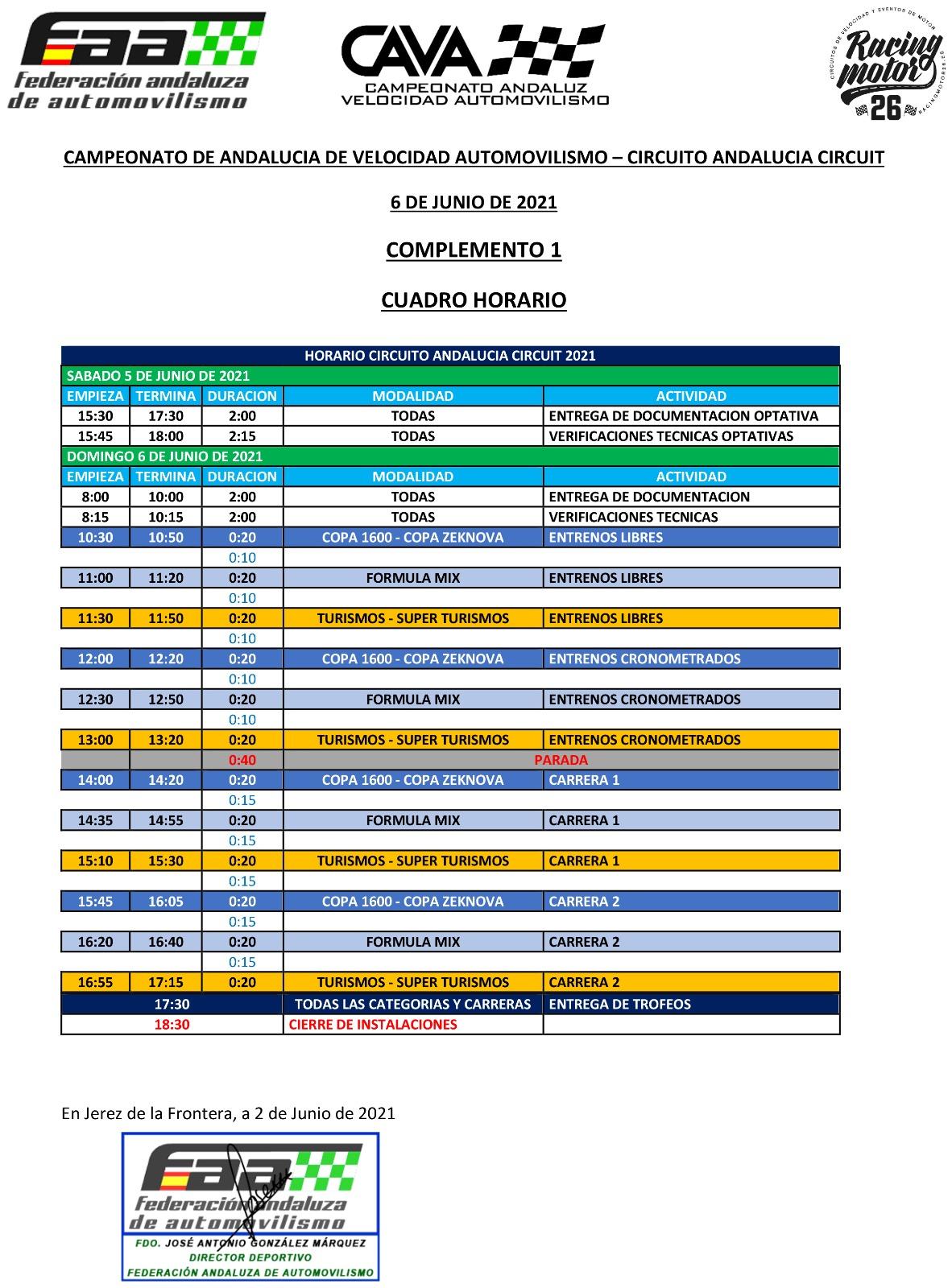 Horarios Campeonato Andaluz Velocidad Automovilismo - Almería