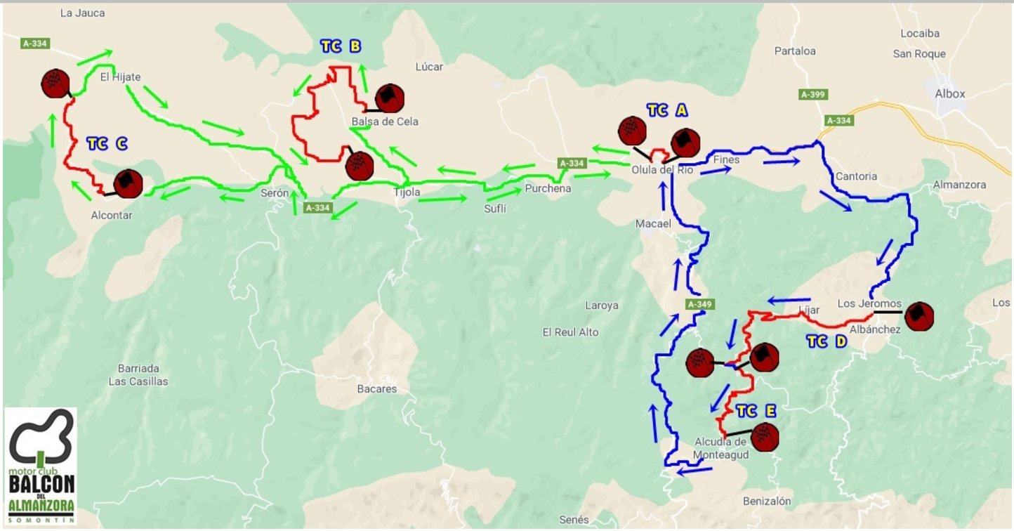 Recorrido VII Rallye Valle del Almanzora - Filabres