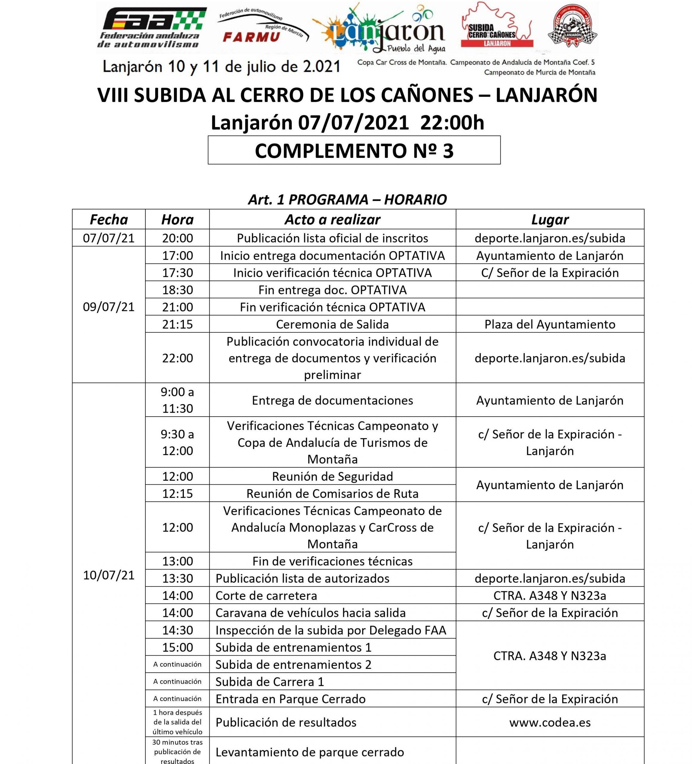 Horario A VIII Subida al Cerro de los Cañones - Lanjaron
