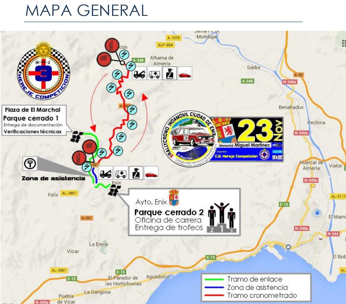 Mapa General Rally Crono Ciudad de Enix