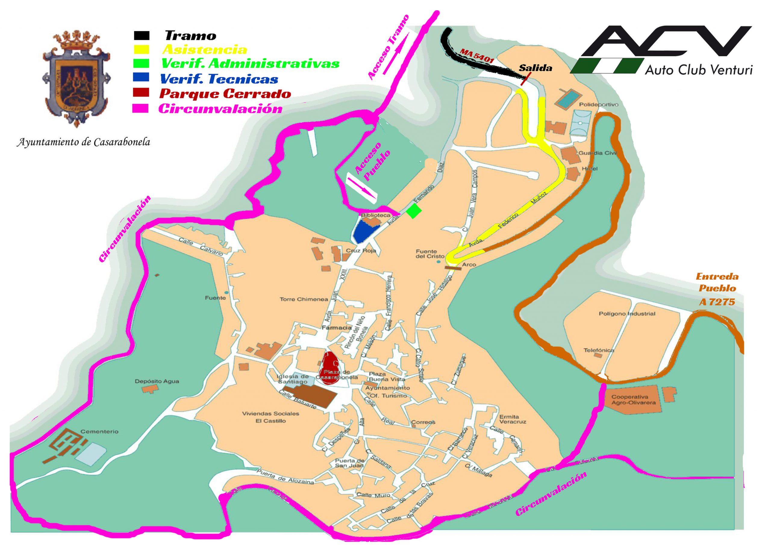 V Subida Casarabonela - Plano de ubicaciones