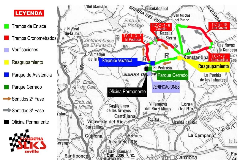 Plano de recorrido VIII Rallye Sliks Sevilla