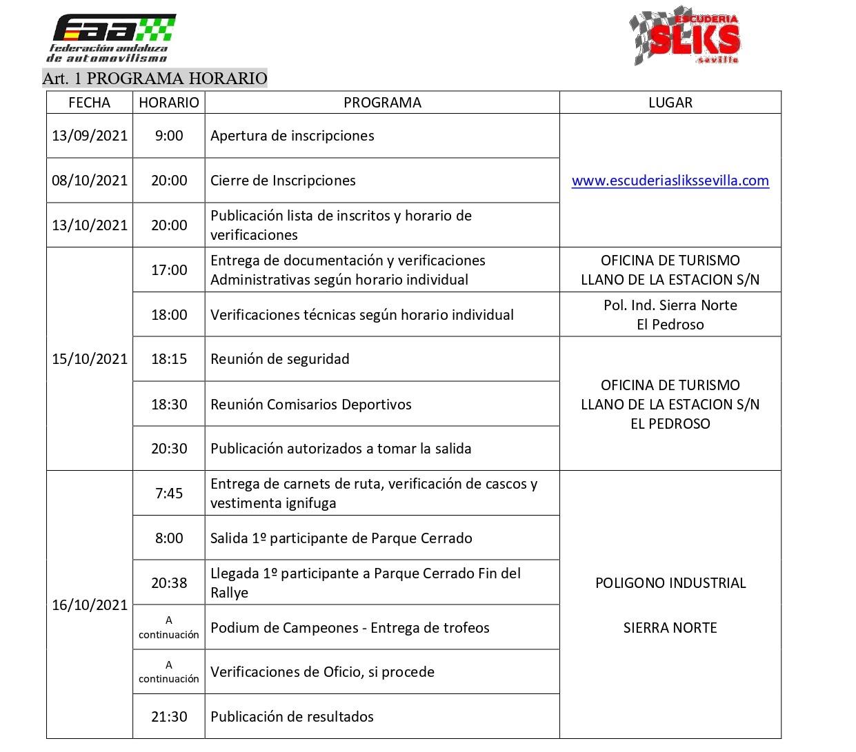 Programa Horario VIII Rallye Sliks Sevilla